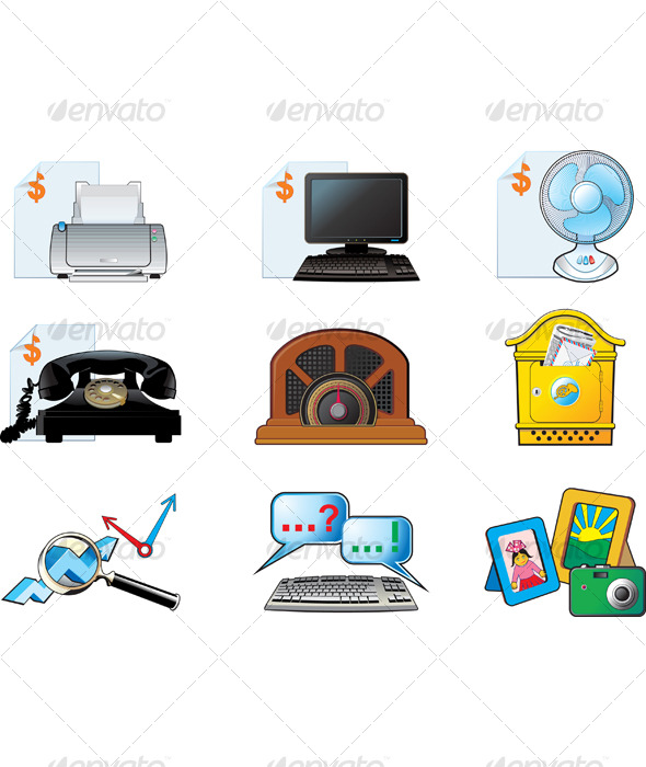 Office vector icon set - Web Elements
