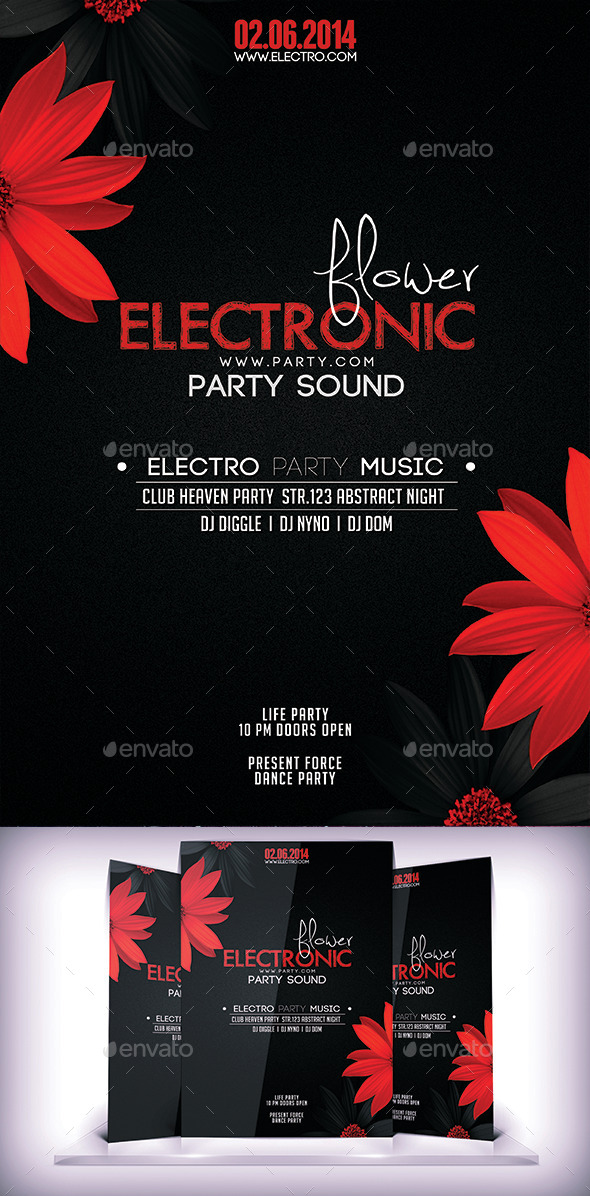 Electronic Floral Flyer - Flyers Print Templates