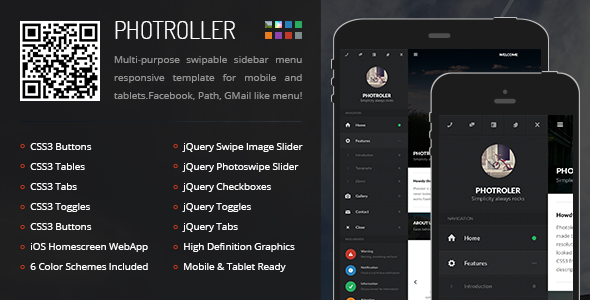 Photroller Mobile | Mobile Template - Mobile Site Templates