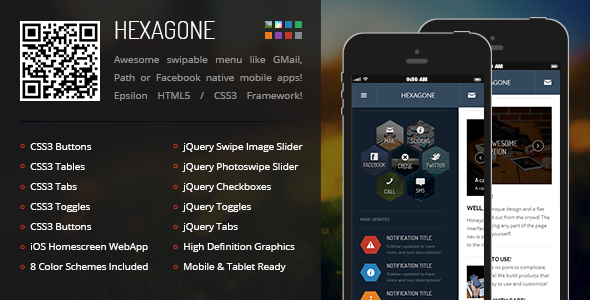 Hexagone Mobile | Mobile Template - Mobile Site Templates