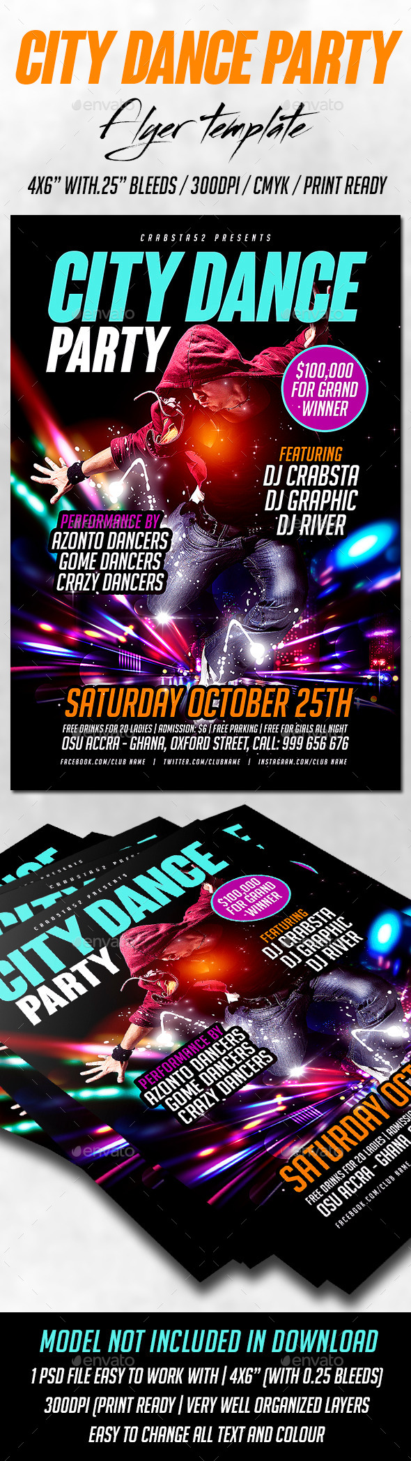 City Dance Party Flyer Template - Clubs & Parties Events