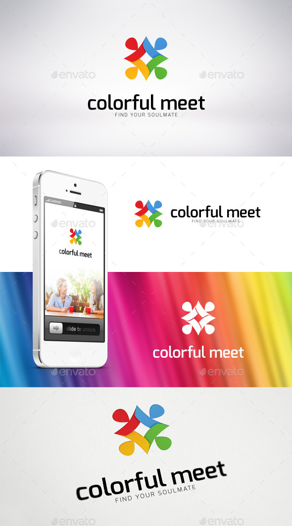 Colorful Meet Logo Template - Humans Logo Templates