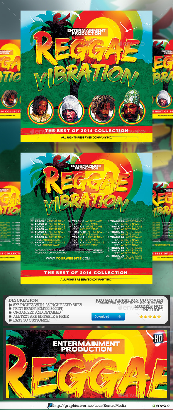 Reggae Vibration CD Cover - CD & DVD Artwork Print Templates