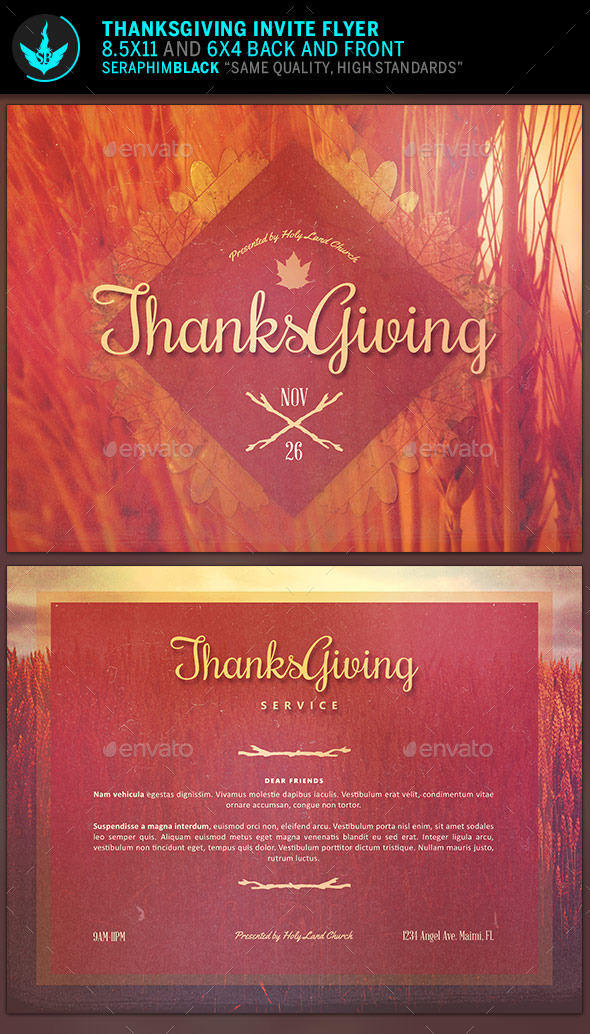 Thanksgiving Invitation Flyer Template - Church Flyers