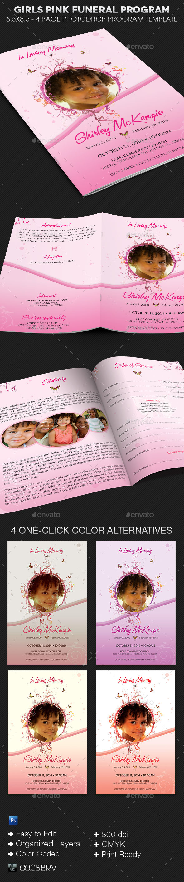 Girls Pink Funeral Program Template - Informational Brochures