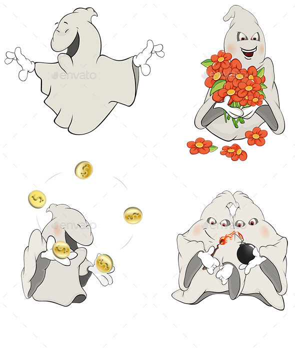 Ghosts Clip Art Cartoon  - Monsters Characters