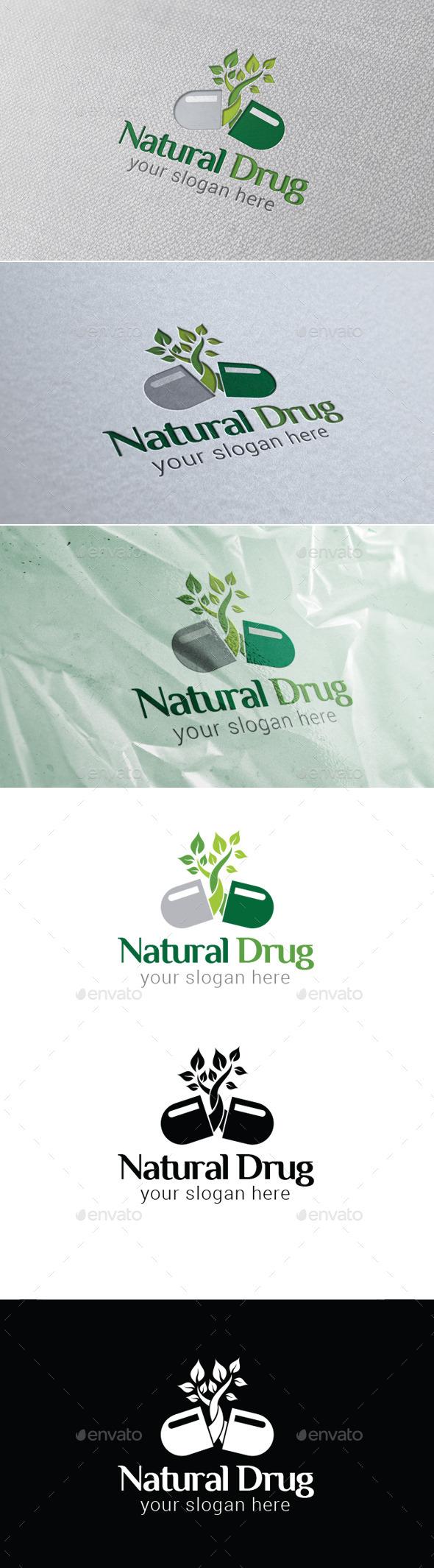 Natural Drug Logo Template - Nature Logo Templates