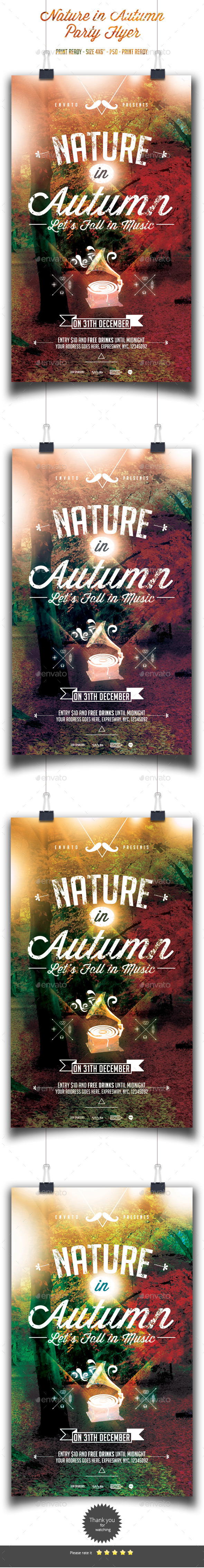 Nature in Autumn Flyer Template - Clubs & Parties Events
