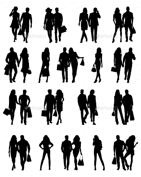 Silhouettes of Couples . Vector illustration - People Characters