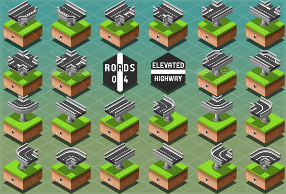 Isometric Elevated Highway on Green Terrain - Buildings Objects