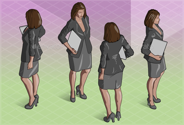 Isometric Woman Secretary Standing - People Characters
