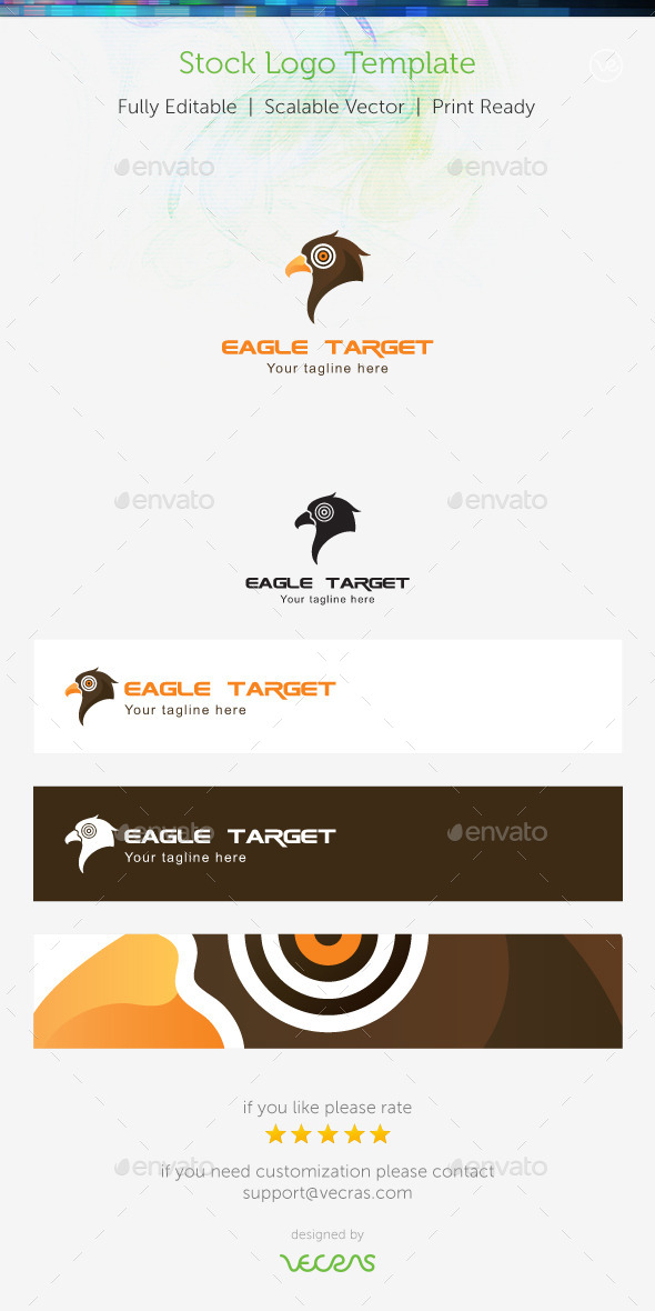 Eagle Target Stock Logo Template  - Animals Logo Templates