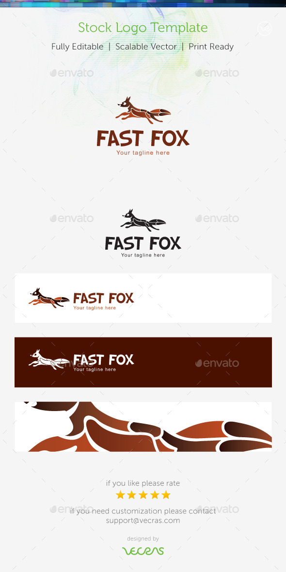 Fast Fox Stock Logo Template  - Animals Logo Templates