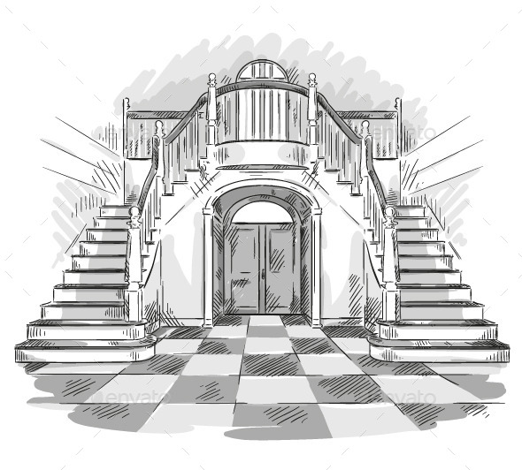Spacious Hall and Staircase Drawing - Buildings Objects