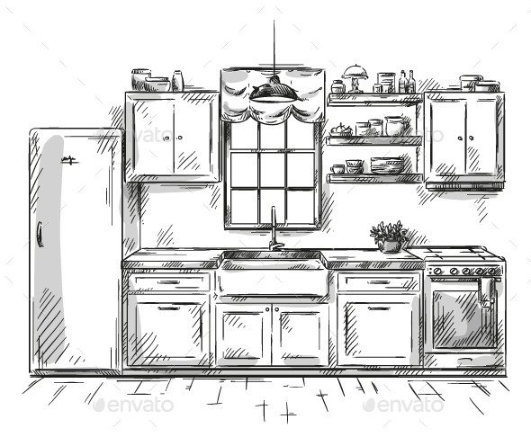 Kitchen Interior Drawing, Vector Illustration - Buildings Objects