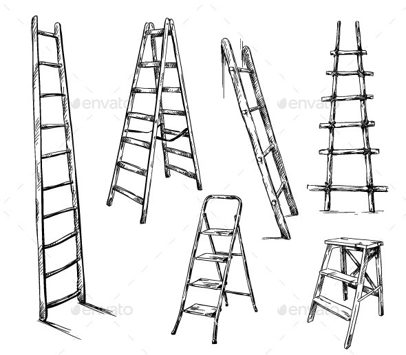 Ladders Drawing, Vector Illustration - Man-made Objects Objects