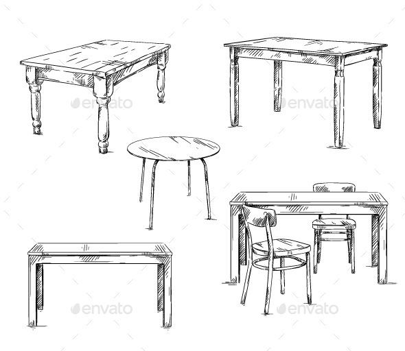 Set of Hand Drawn Tables, Vector Illustration - Man-made Objects Objects