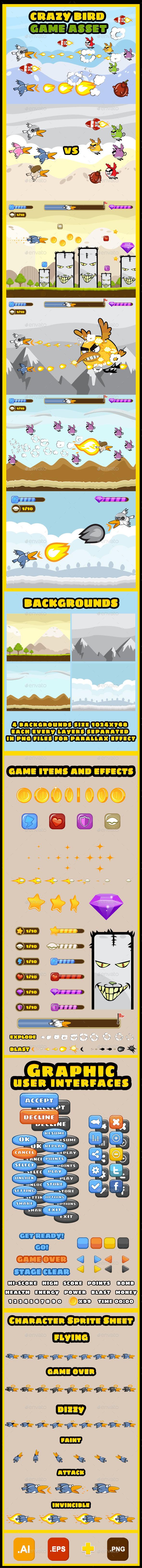 Crazy Birds Game UI Kit  - Game Kits Game Assets