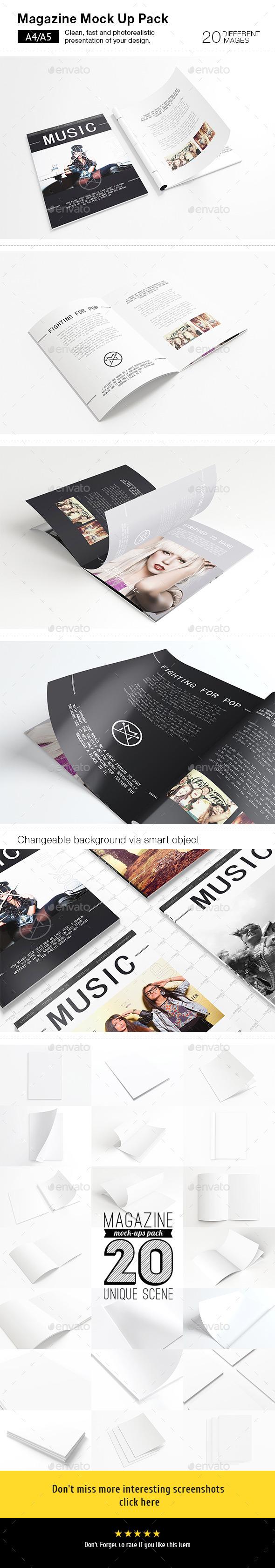 20 Magazines Mock-ups Pack - Magazines Print