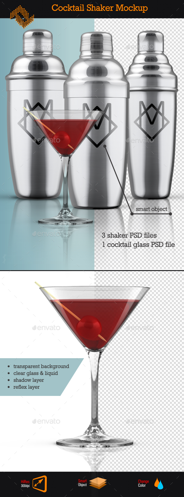 Cocktail Shaker Mockup - Food and Drink Packaging