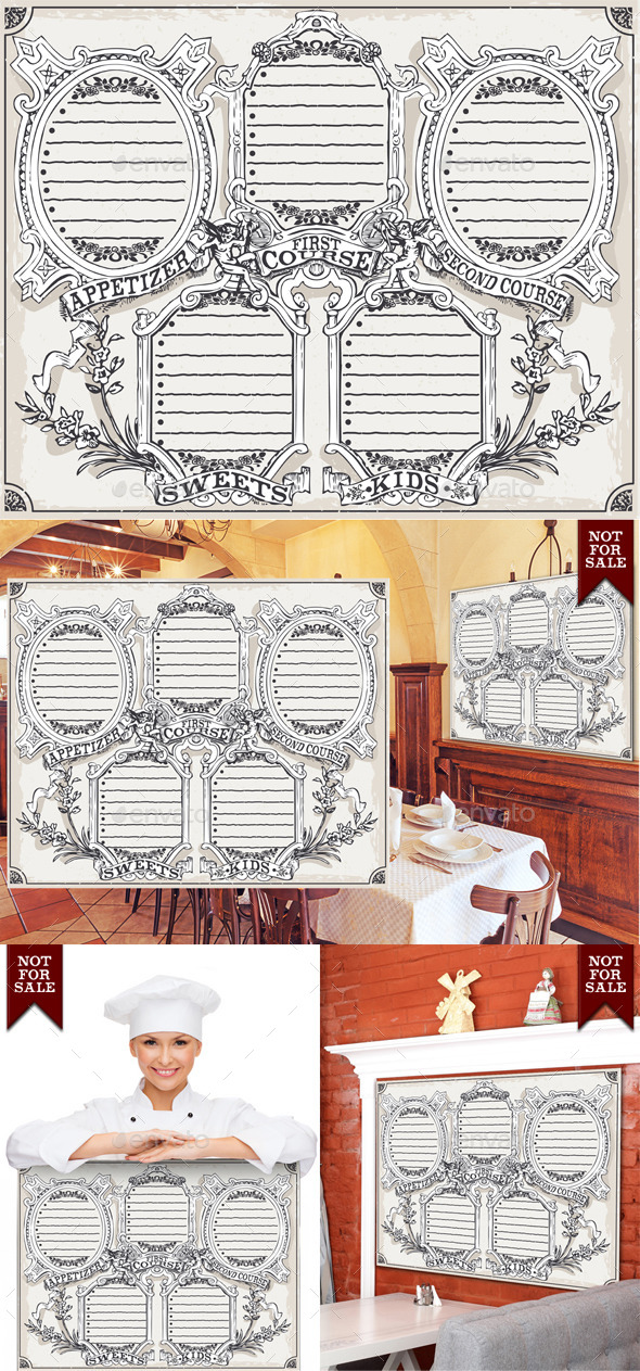 Vintage Graphic Blackboard Menu for Restaurant - Food Objects