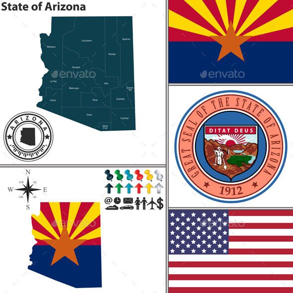 Map of state Arizona, USA - Travel Conceptual