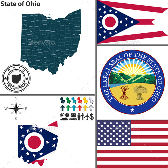 Map of state Ohio, USA - Travel Conceptual