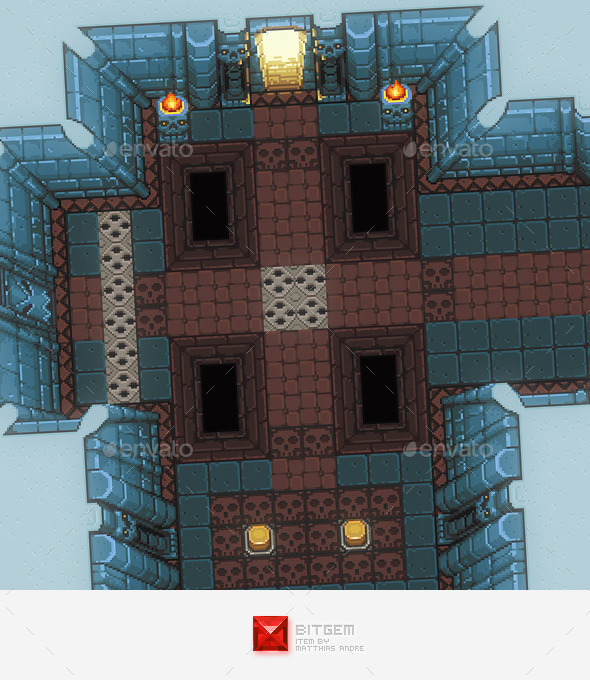 RPG Dungeon Level Chip Set 02 Blue - Tilesets Game Assets