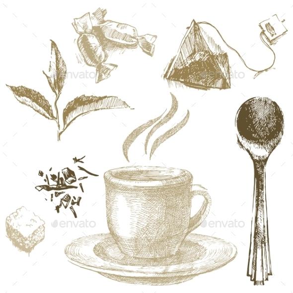 Hand Drawn Tea Set - Food Objects