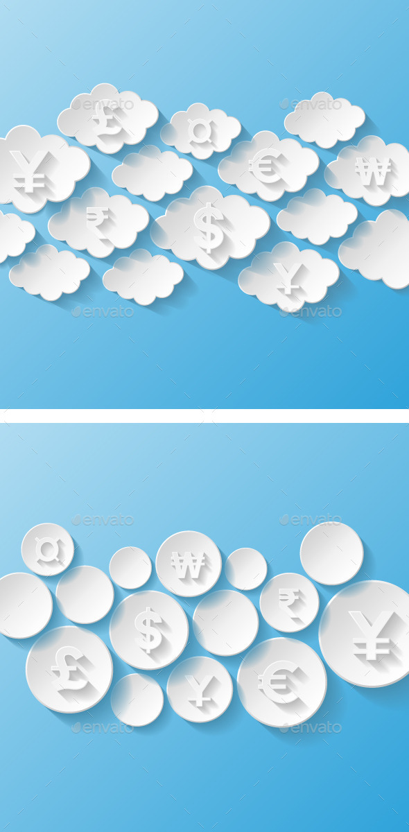 Abstract Backgrounds with Currency Symbols - Concepts Business