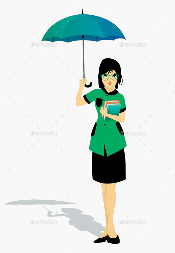 Student Holding an Umbrella - People Characters