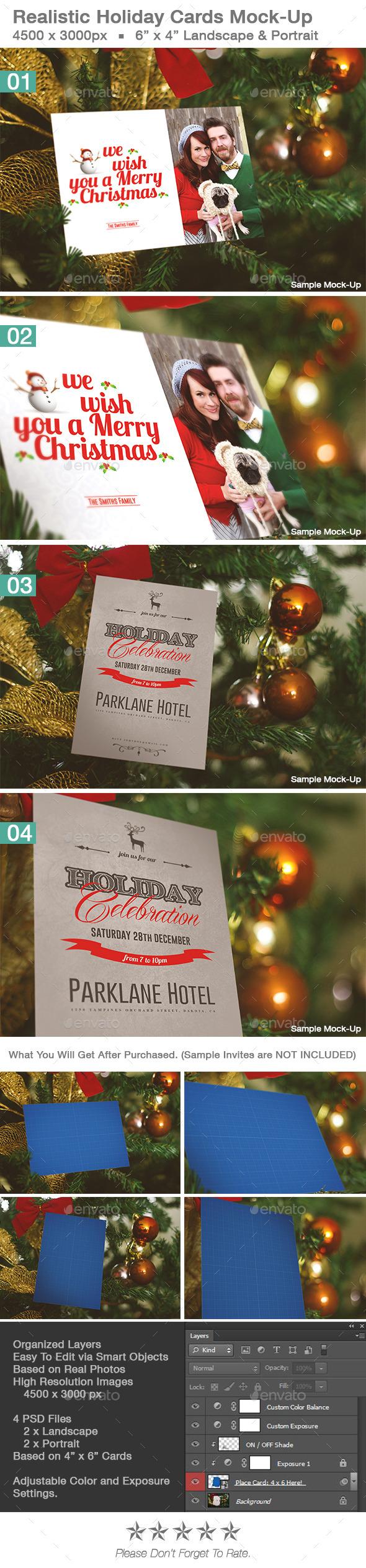 Realistic Holiday Card Mock-Up Vol 1