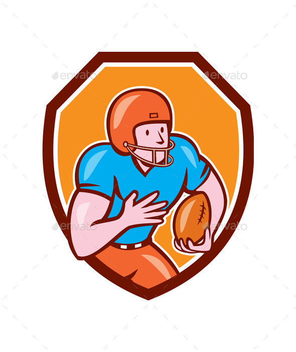 American Football Receiver Running Ball Shield - Sports/Activity Conceptual