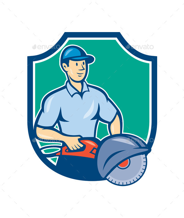 Construction Worker Concrete Saw Consaw Cartoon - People Characters