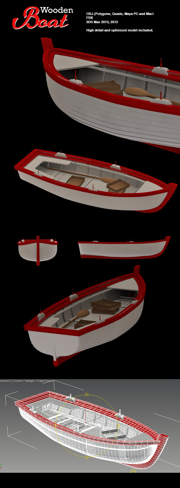 Wooden Fishing Boat - 3DOcean Item for Sale