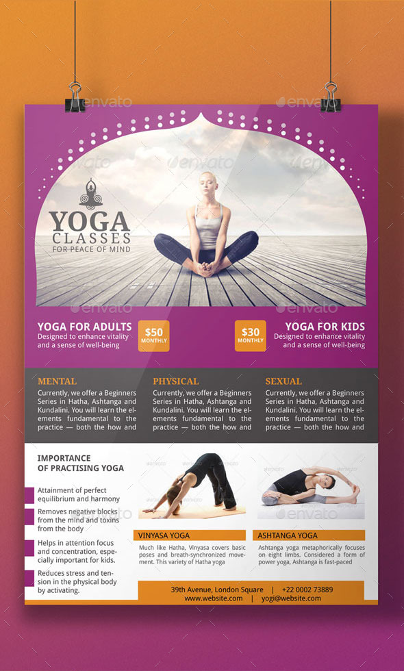 yoga flyer template by blogankids