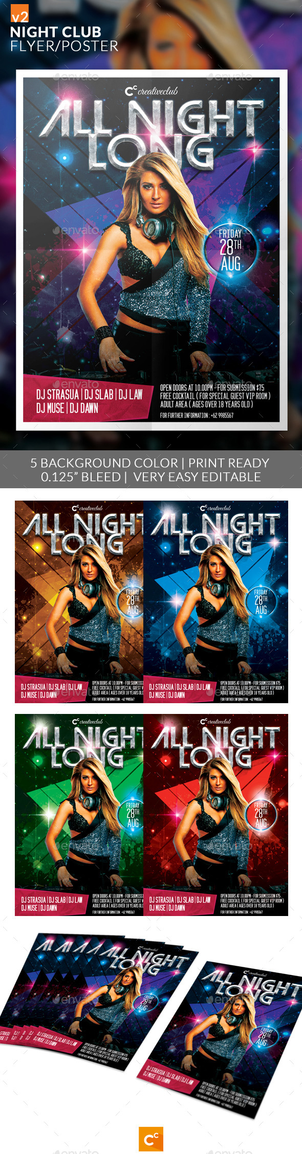 Night Club Flyer/Poster v2 - Clubs & Parties Events