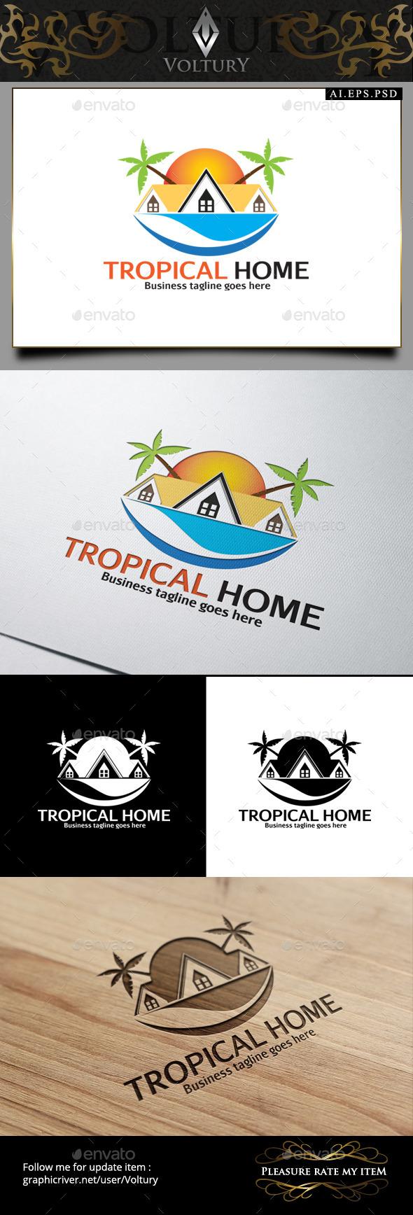 Tropical Home Logo - Buildings Logo Templates