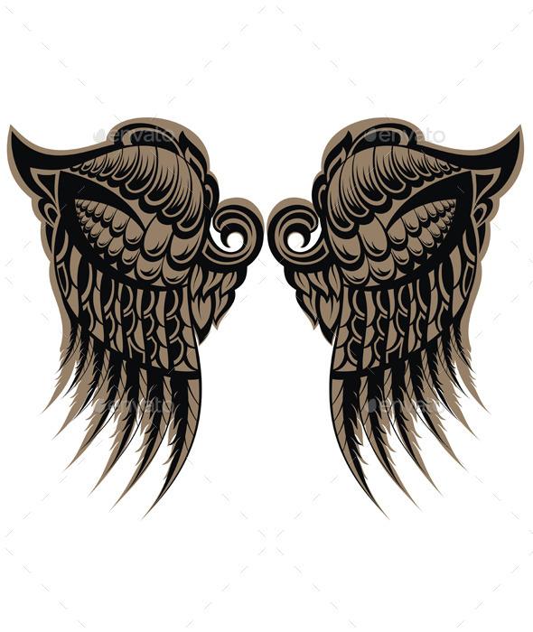 Winged Tattoo - Tattoos Vectors
