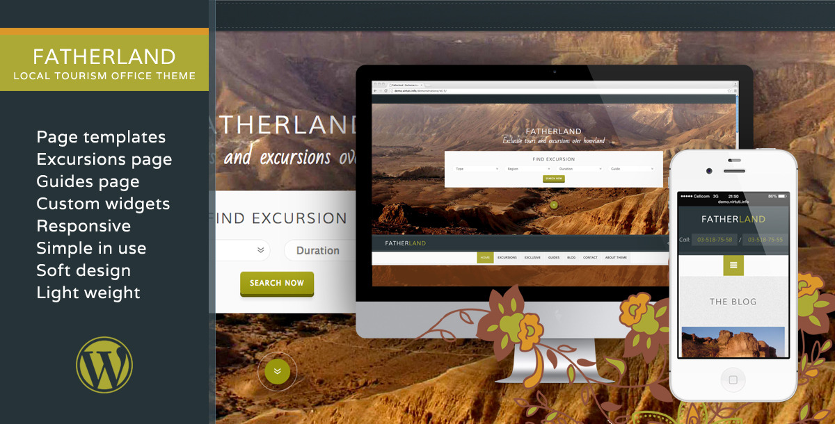 Fatherland – Local Tourism Travel Agency Excursions WP Theme