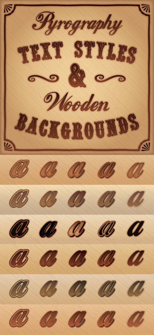 Pyrography (Burnt Wood) Styles & Background Pack - Styles Illustrator