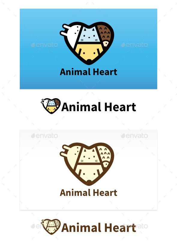 Animal Heart - Animals Logo Templates