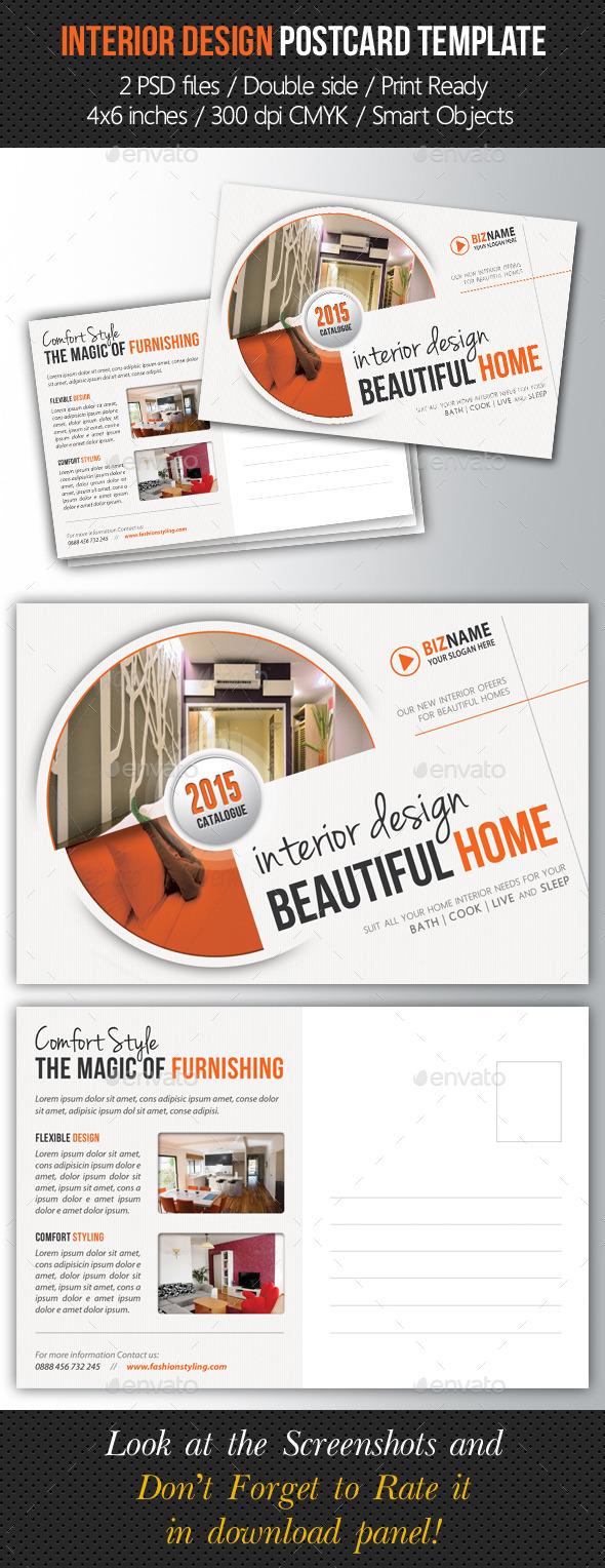 Interior Design Postcard Template - Cards & Invites Print Templates
