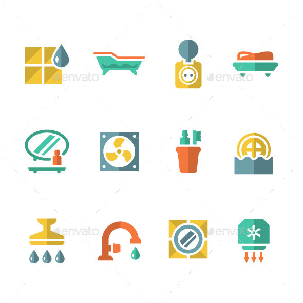 Set Flat Icons of Bathroom - Man-made objects Objects