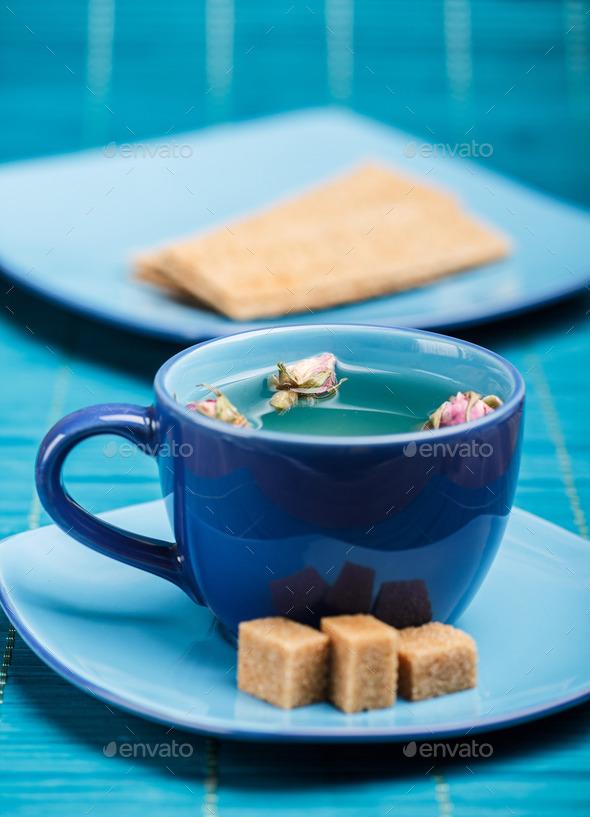 Blue tea cup - Stock Photo - Images