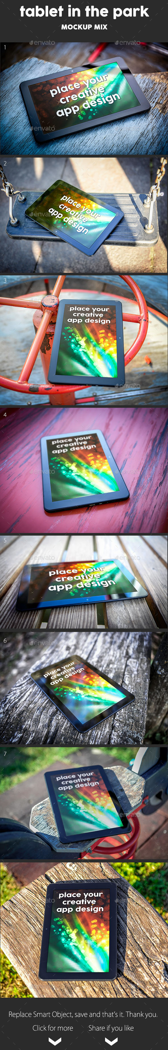 Tablet in The Park mock Up - Mobile Displays