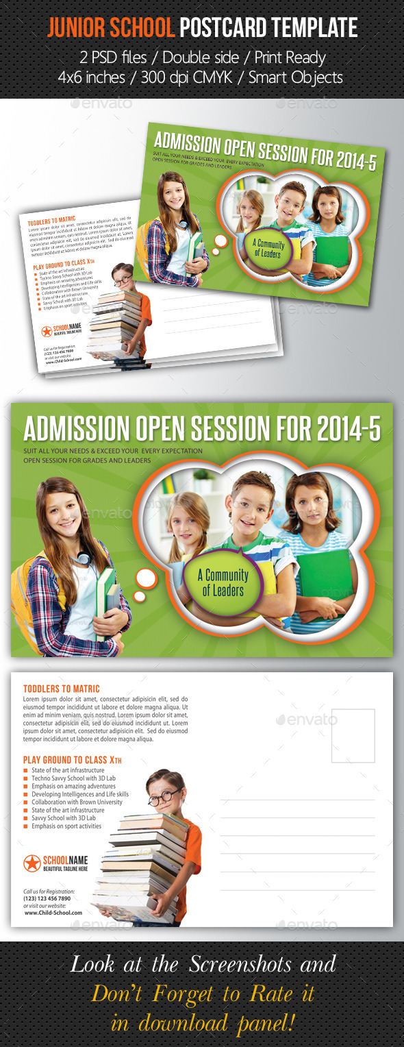 Junior School Promotion Postcard Template - Cards & Invites Print Templates