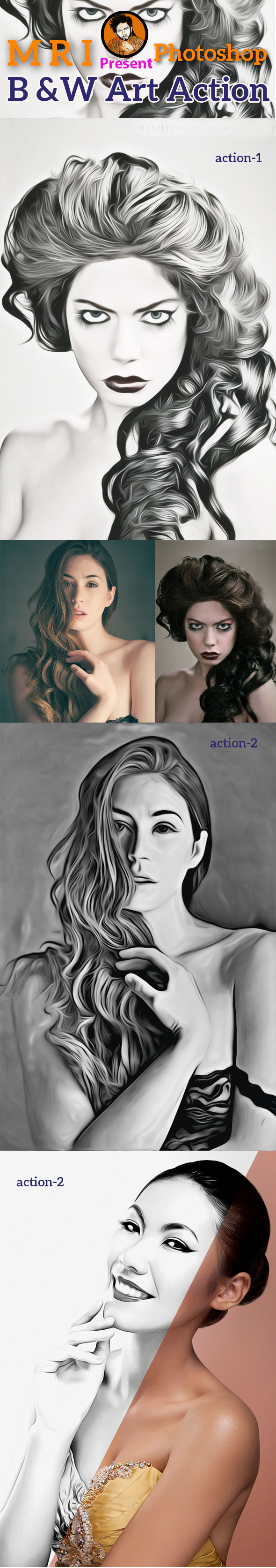 B&W Art Action - Actions Photoshop