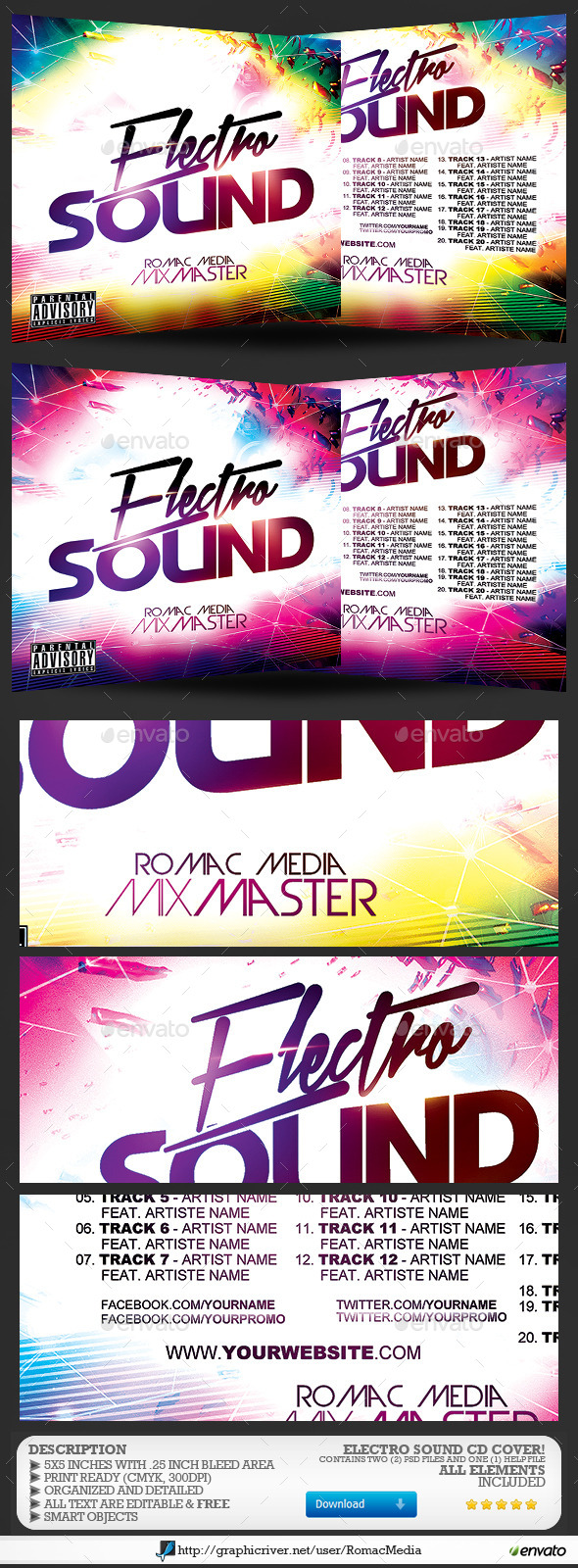 Electro Sound CD Cover - CD & DVD Artwork Print Templates