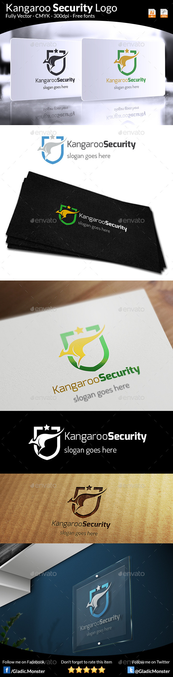 Kangaroo Security Logo - Animals Logo Templates